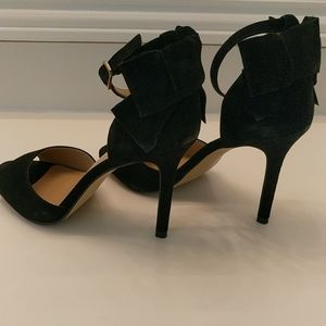 Black suede heels with bow size 8